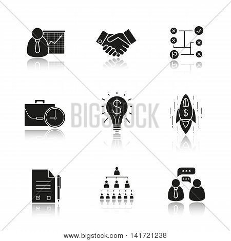 Business concepts drop shadow black icons set. Presentation with graph, handshake, problem solving, work time, business idea, goal achievement, signed contract. Isolated vector illustrations