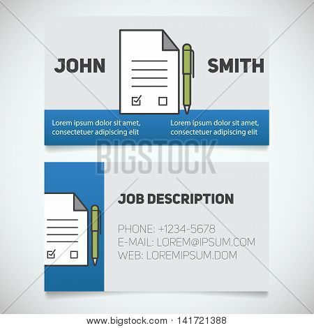 Business card print template with signed contract and pen logo. Lawyer. Negotiator. Advocate. Stationery design concept. Vector illustration