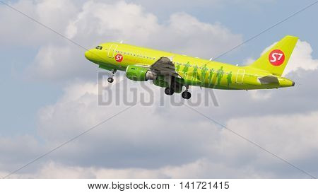 Moscow region - 31 July 2016: passenger plane Airbus A319-114 S7 Airlines flies to Moscow's Domodedovo airport July 31 2016 Moscow Region Russia