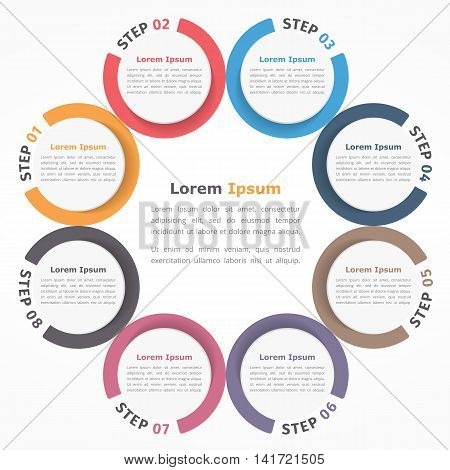 Circle diagram with eight elements steps or options, flowchart or workflow diagram template, vector eps10 illustration