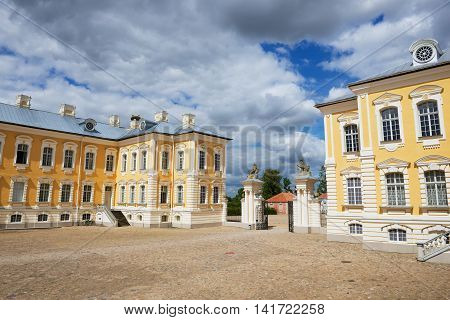 PILSRUNDALE, LATVIA - JULY 27, 2015: View to the inner yard of the Rundale palace in Pilsrundale, Latvia.