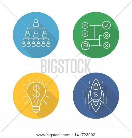 Business concepts flat linear long shadow icons set. Company hierarchy, leadership, problem solving, successful idea, goal achievement, spaceship with dollar sign. Vector line symbols