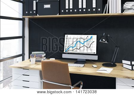 Computer Screen With Graphs