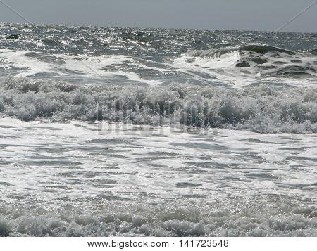 Strong Waves coming to shore as the tides turn inward at Fernandina Beach
