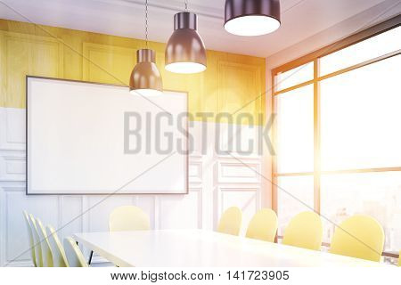 Corner of conference room with table chairs whiteboard big window and wooden wall. Concept of business talk. 3D rendering. Mock up. Toned image.