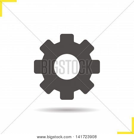 Gear icon. Drop shadow cogwheel silhouette symbol. Options, settings and preferences sign. Vector isolated illustration