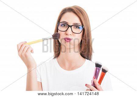 Sexy Model Applying Powder On Cheek With Brush