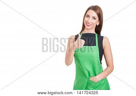 Trustworthy Saleswoman Doing Like Gesture