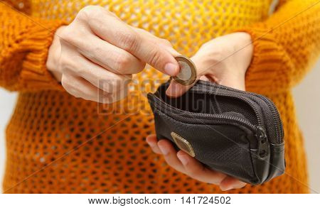 Hand Put Down Money Coin To Growing Bag With White Background,bag Of Coins,bags Filled With Coins,fi