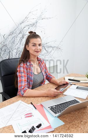 Beautiful Young Lady Working