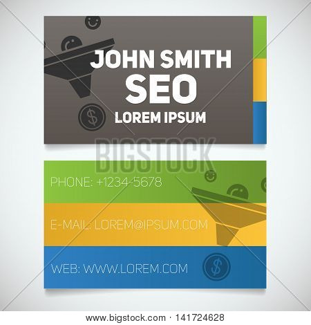 Business card print template with sales funnel logo. Easy edit. Seo manager. Marketer. Stationery design concept. Vector illustration