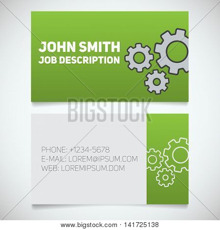 Business card print template with gears logo. Mechanic. Watchmaker. Machinist. Cogwheels. Stationery design concept. Vector illustration