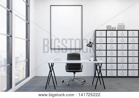 Table and set of drawers in modern office environment. Concept of workingplace. 3d render. Mock up