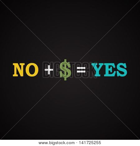 Equation between yes and no - funny inscription template