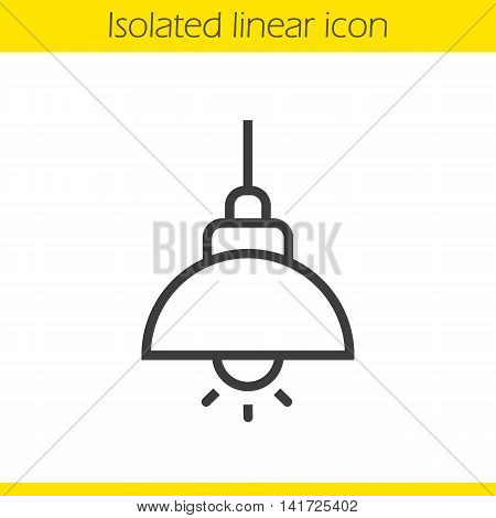 Ceiling lamp linear icon. Thin line illustration. Hanging lamp contour symbol. Vector isolated outline drawing
