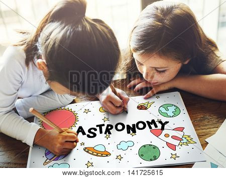 Outer Space Icons Drawing Graphics Concept