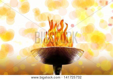 close up shot of burning flaming torch.