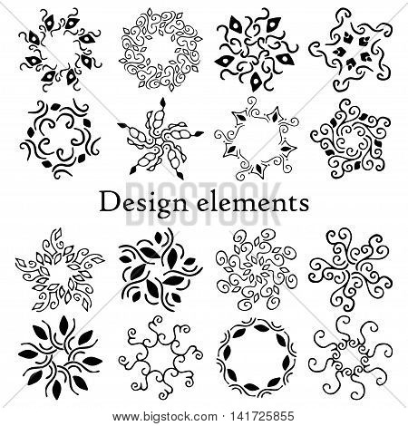 Design elements set, patterns, finials. Vector. On a white background. Set of 16 calligraphic elements.