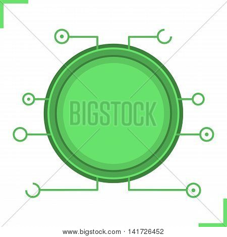 Digital microchip frame. Green color futuristic chip set icon. Sci-fi user interface. Cyber technology background. Computer circuit board. Science fiction gui concept. Isolated vector illustration