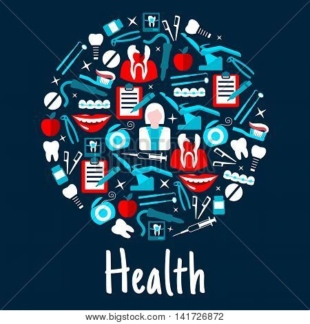 Dentist with tools and equipment, pills, syringes, cross sections of cracked tooth and braces, healthy teeth, implants, floss and toothbrushes, x ray and checkup forms flat icons arranged into circle