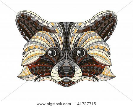Detailed hand drawn doodle outline raccoon illustration. In zentangle style. Patterned fiery on the grunge background. It may be used for design a t-shirt, bag, postcard, poster and so. Vector.