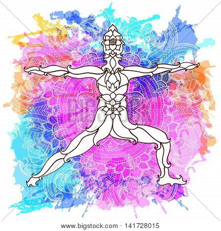 Decorative yoga pose on the abstract multicolored background with ornate round mandala pattern. Yoga concept. Decorative design for cover, t-shirt, hippie poster, flyer.