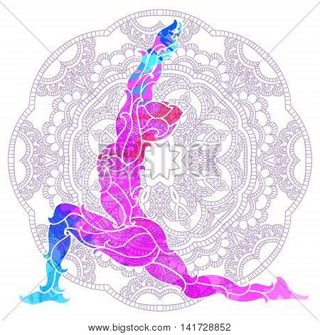 decorative colorful yoga pose over ornate round mandala pattern. Yoga concept. Decorative design for cover, t-shirt, hippie poster, flyer.