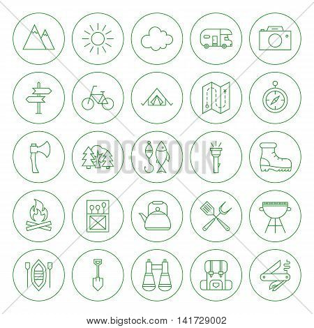 Line Circle Camping Icons Set. Vector Illustration of Outline Summer Adventure Objects.