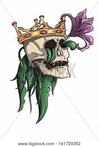 dead king skull with a crown and a flower