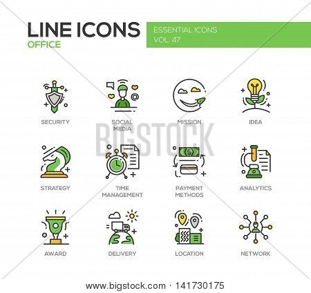 Set of modern vector business, finance, office line design icons and pictograms. Security, social media, mission, idea, strategy, time management, payment methods, analytics, award delivery location network