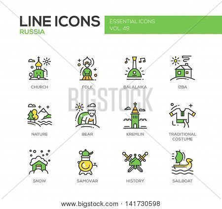 Russian national symbols - set of modern vector line design icons and pictograms. Church, folk, balalaika, izba, nature, bear, kremlin, traditional costume, snow, samovar history sailboat