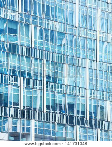 Abstract reflection of modern city glass facades