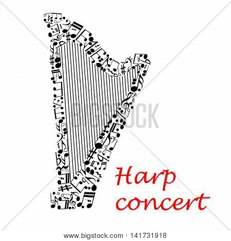Harp music concert poster with silhouette of classic harp made up of strings and musical notes, treble and bass clef, rest, key signature. Musical entertainment event or contest design