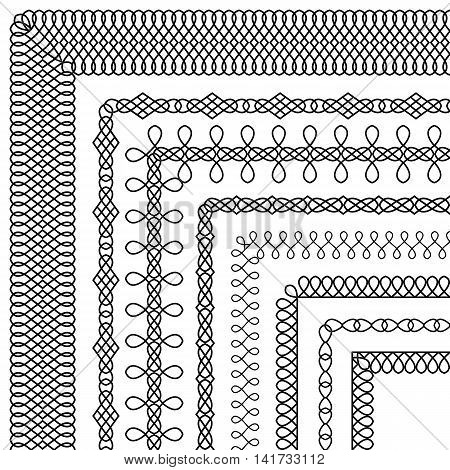 Vector set of decorative brushes with ornamental pattern imitating the weave to create frames and borders. The brush included in the file