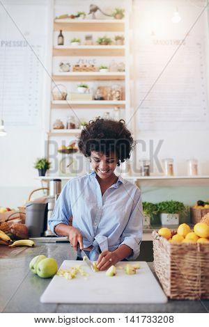 Female Bartender Working At Juice Bar