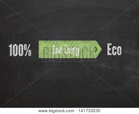 green arrow with text Save Energy on blackboard
