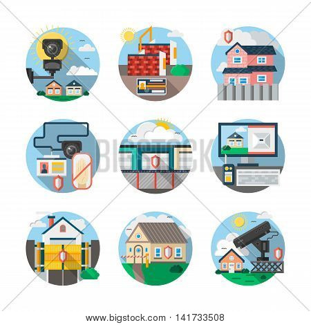 Home security, thief guard and alarm system. Services of protection or monitoring of private, commercial or industrial objects. Round detailed flat color style vector icons collection.