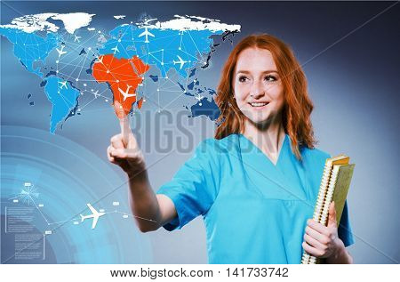 Woman doctor in medivac concept