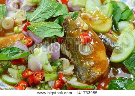 Thai spicy canned sardine salad on dish