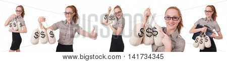 Collage of young businesswoman with money sacks on white