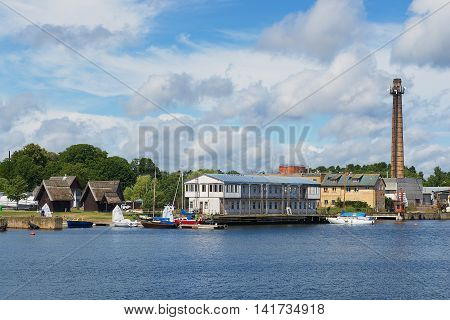 ENGURE, LATVIA - JULY 30, 2015: View to the seaside buildngs in Engure, Latvia.