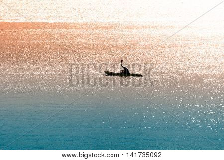 Sea Canoeist (water Sports) At Dawn