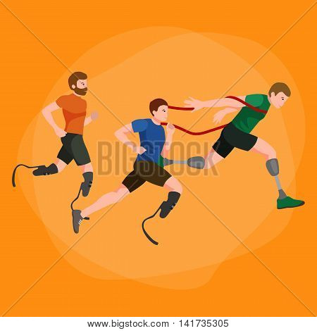 disabled athlete with prosthesis isolated concept, sport for people with prosthesis, physical activity and competition for invalid vector illustration
