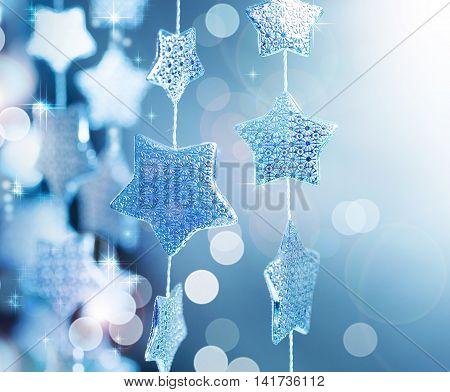 Blue star and glitter sparkles background super macro shot shallow DOF