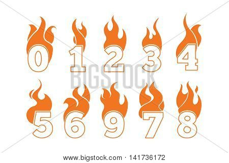 vector orange icons set of Flaming Numbers. Pictures isolate on white background. Illustrations for your personal emblems or logo design