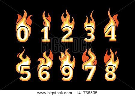 vector cartoon icons set of Flaming Numbers. Pictures isolate on black background. Illustrations for your personal emblems or logo design