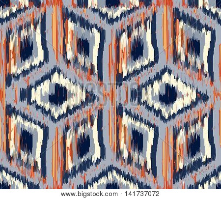 Seamless Ikat Pattern with rhombuses. Abstract background for textile design wallpaper surface textures wrapping paper.