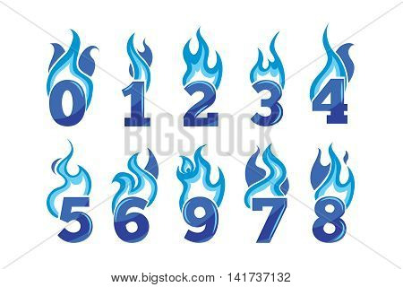 vector cartoon icons set of blue Flaming Numbers. Pictures isolate on white background. Illustrations for your personal emblems or logo design
