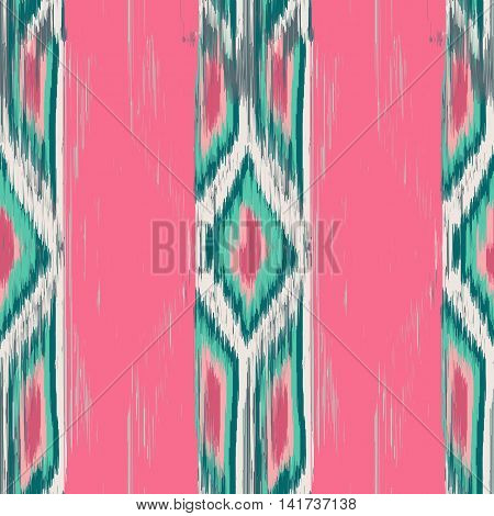 Seamless Ikat Pattern with strips and rhombuses. Abstract background for textile design wallpaper surface textures wrapping paper.