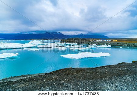 View of Jokulsarlon a large glacial lake in southeast Iceland